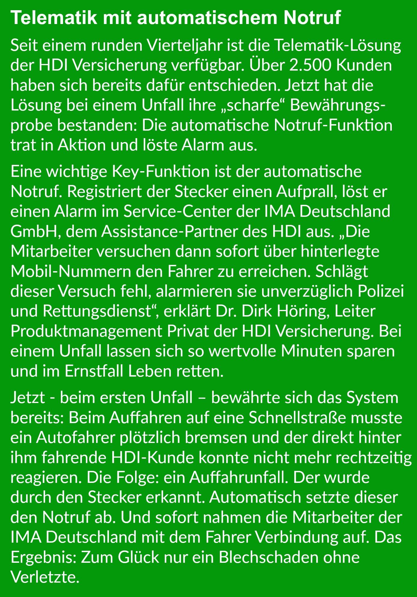 HDI geht mit Telematik und TankTaler neue Wege - bocquell-news.de